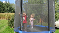 backyard, outdoor play equipment, trampolining--equipment and supplies, play, trampoline,