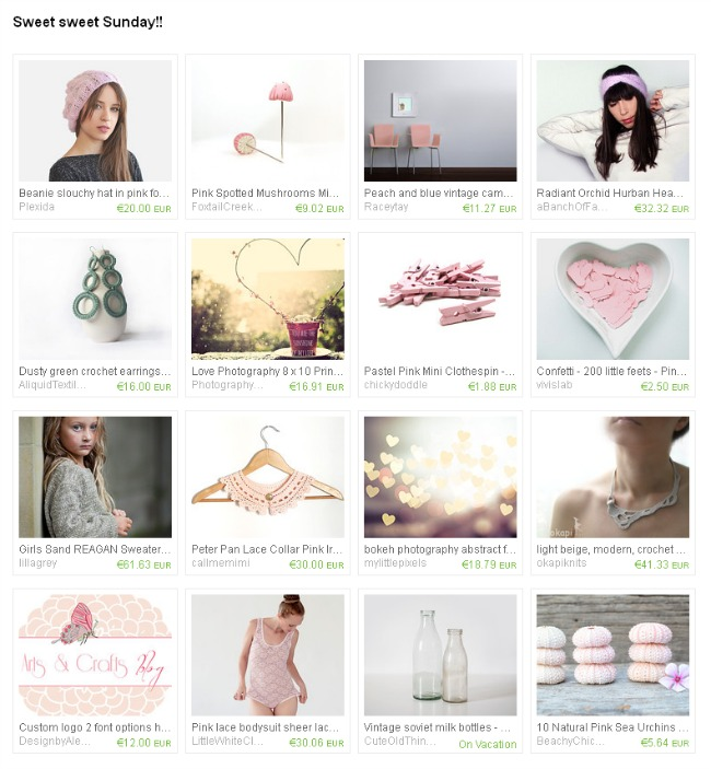 My blog logo featured on Sweet sweet Sunday, etsy treasury