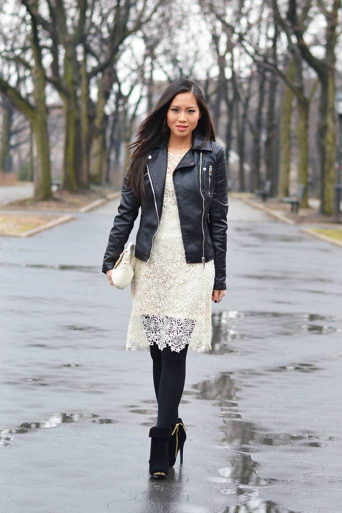 Zara black leather jacket, white cream lace dress winter outfit