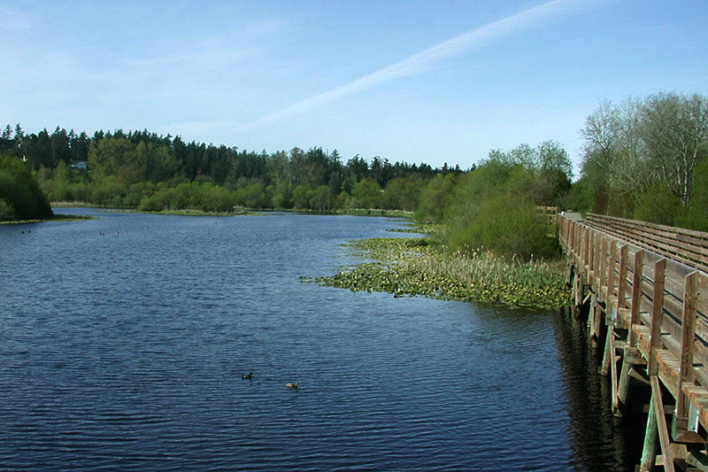 Lochside Trail crosses Blenkinsop Lake in Saanich, Greater Victoria, Vancouver Island, British Columbia