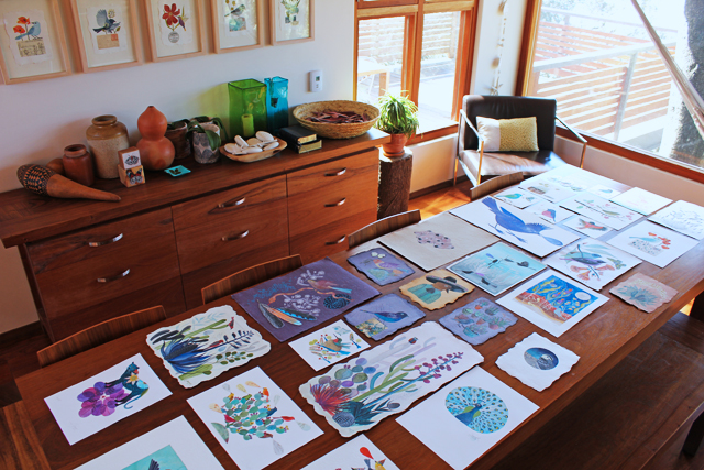 Table full of art
