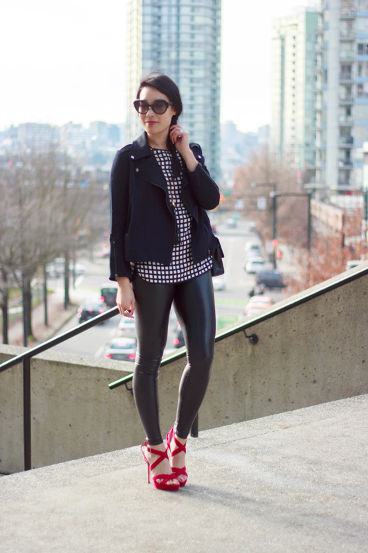 HRH Collection moto jacket, J. Crew tipped windowpane silk tee, Aritzia Wilfred Free Daria faux leather leggings, Jimmy Choo Vamp sandals, Chanel 2.55 bag, Prada Minimal Baroque sunglasses, HRH Collection Gilded Girl ring, Vancouver, fashion, style, blogger