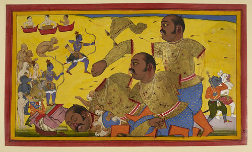 Ramayana, Yuddha Kanda. - caption: 'The death of Kumbhakarna'