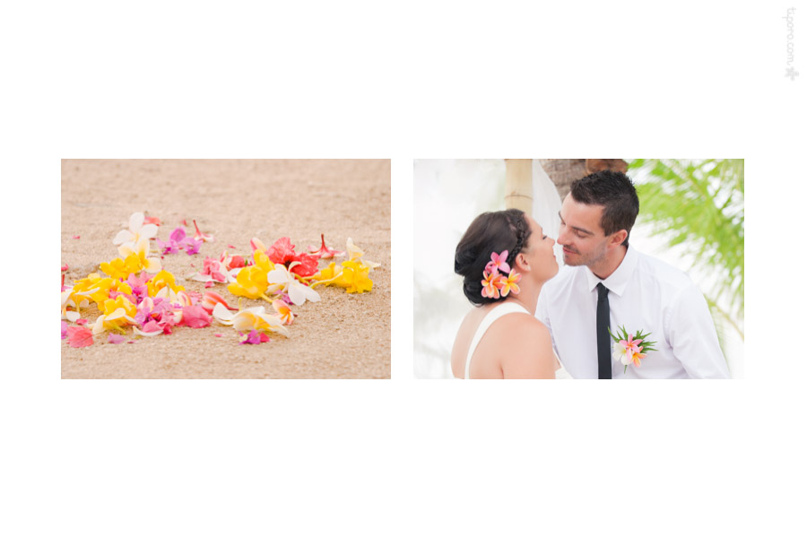 A Kiss. tropical petals, wedding ceremony Rarotonga