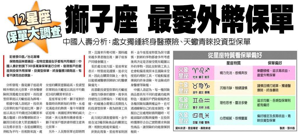 20140126[工商時報]12星座保單大調查 獅子座 最愛外幣保單--中國人壽分析:處女獨鍾終身醫療險、天蠍青睞投資型保單