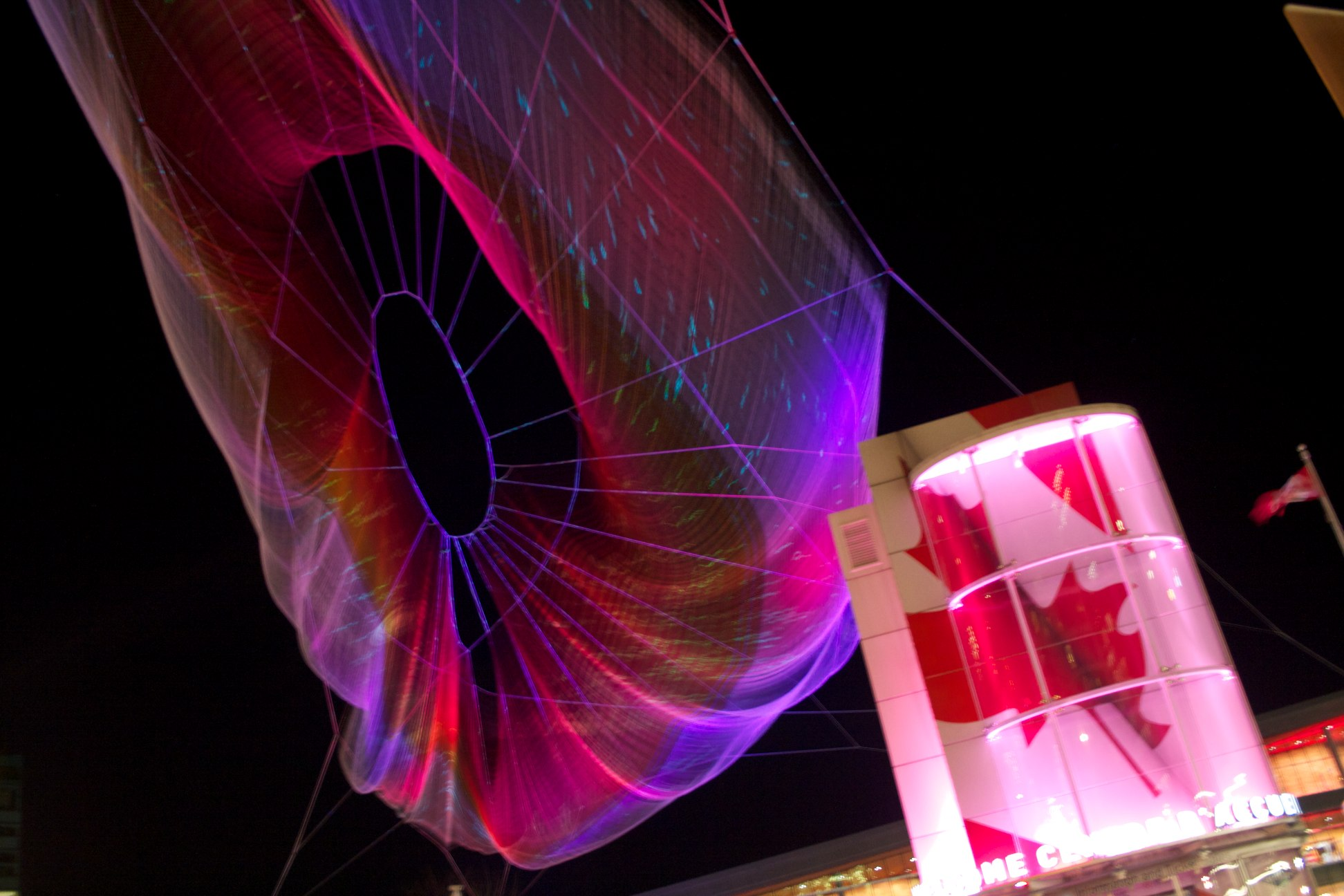 _MG_6652  Janet Echelman aerial sculpture. sculpture, art, vancouver, downtown, illuminated. buy photo