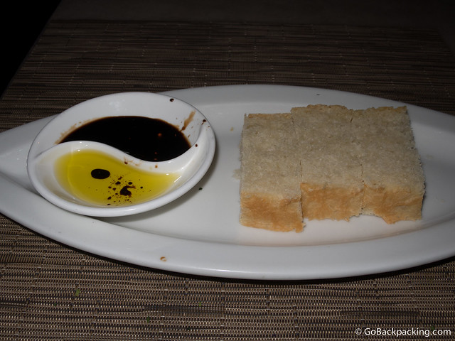 Fresh bread with olive oil and a homemade balsamic sauce