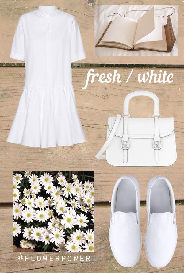 שמלה לבנה, תיק לבן, שמלה לבנה לפסח, נעלי ואנס, חרציות, daisy, vans, slip-ons, white dress, white bag