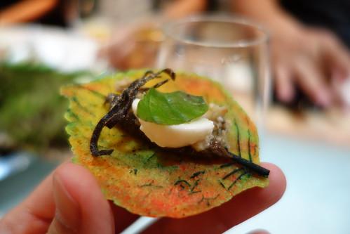 Parmesan Leaf with Braised Mushroom, Mozzarella Cheese & Basil