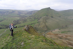 035-20140315_Derbyshire-Upper Dove Valley-Julia Kaye ascending W ridge of Parkhouse Hill-Chrome Hill beyond