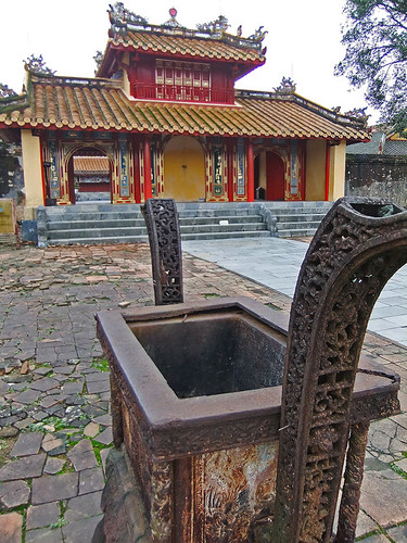 Buildings in the Minh Mang Tomb in Hue, Vietnam