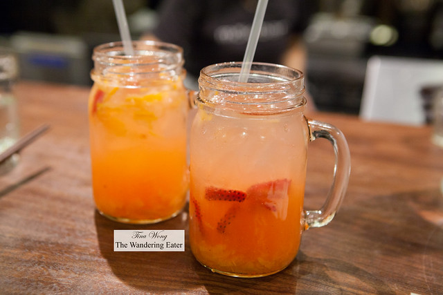 Our iced Korean style iced teas flavored for yuzu and strawberry