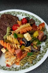 pasta salad, vegetable, italian food, fusilli, pasta, meat, food, dish, cuisine,