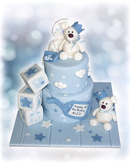 Two Teddies 1st Birthday Cake