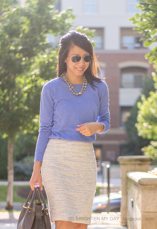 gray pearl wrapped necklace, cornflower blue sweater, tweed pencil skirt, gray tote bag
