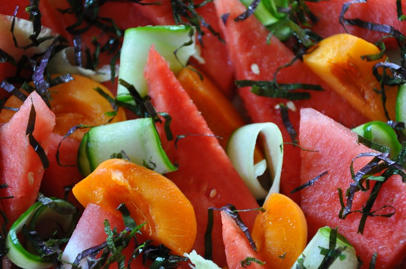 Watermelon and Apricot Salad with Sesame-Ginger Dressing