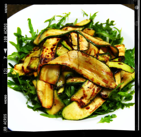 Griddled courgette salad with tasty breadcrumbs