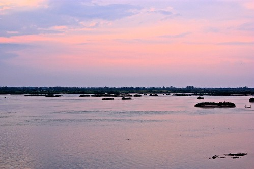 sunset colors over the Mekong