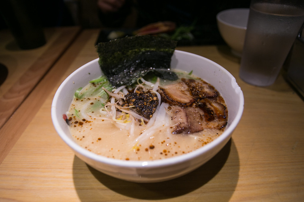 Totto Spicy Ramen - Original Rayu, Spicy Sesame Oil, Topped with scallion, bean sprouts, and nori