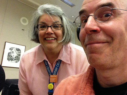 Recording the walking tour podcast for Portland's Central Library with Producer/Librarian Lee C. by Bart King