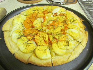 Potato, Sweet Potato, Garlic and Rosemary Pizza