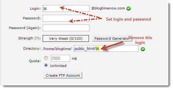 How to setup FTP account using cPanel