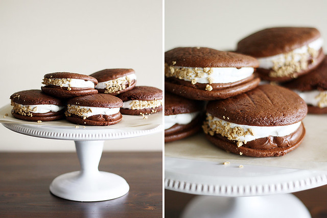 double chocolate s'mores whoopie pies