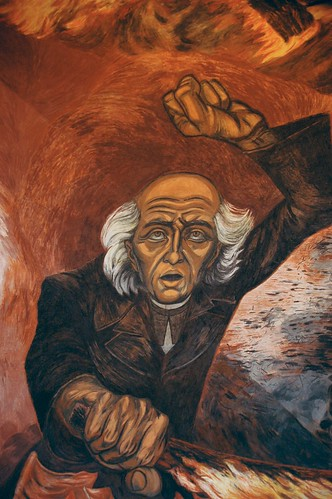 Hidalgo Incendiario, wall mural, by José Clemente Orozco, Governor's Palace. Miguel Hidalgo was a War of Independence hero; a parish priest who called his Indian parishioners to revolt on September 16, 1810, Guadalajara, Jalisco, Mexico by Wonderlane