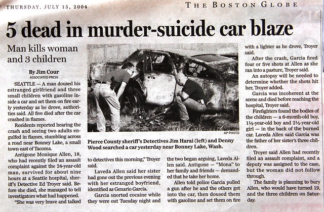 scrapbook: 5 dead in murder-suicide car blaze