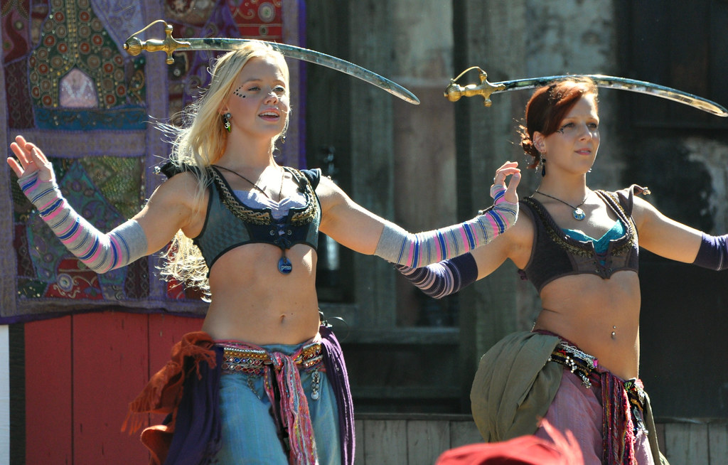 cleavage bearing belly dancers balancing swords and the minnesota renaissance festival