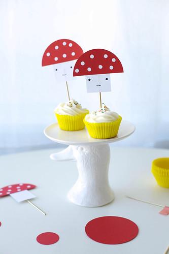 toadstool mushroom cupcake topper DIY for handmade charlotte