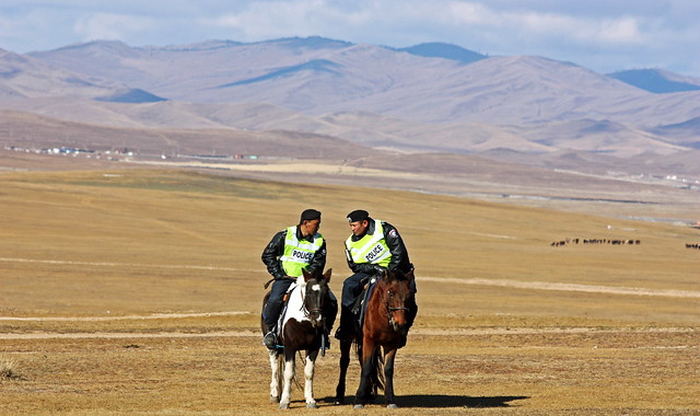 Mongolia: Police officer In the middle of nowhere.