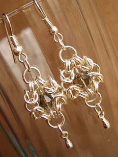 Earrings - Smoky Crystal. Romanovskoe weaving.