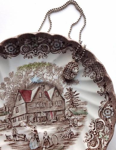 Colonial Broken Dish Pendant