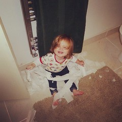 """Mummy! Guess what? Claudia can open the bathroom door!"" #twinsofinstagram #doubleteamed"