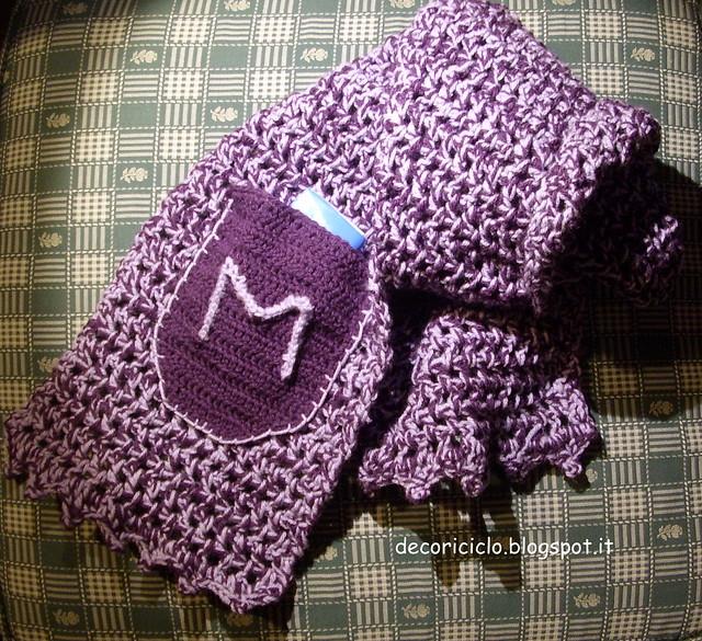 sciarpa melange viola-lilla con tasca 1