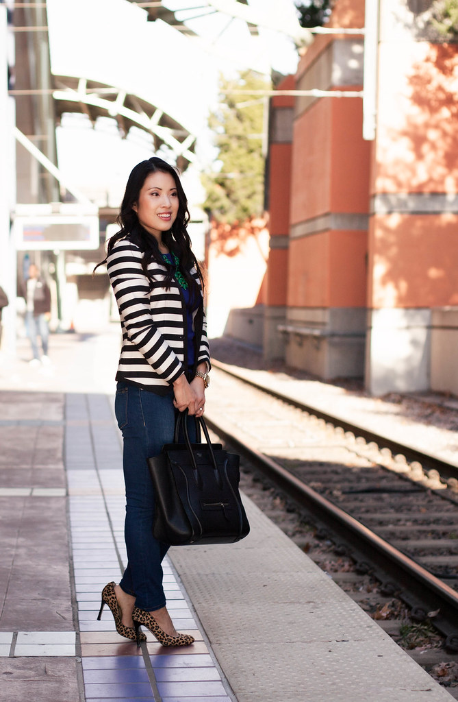 cute & little blog | striped blazer, jewel tones, leopard pumps outfit