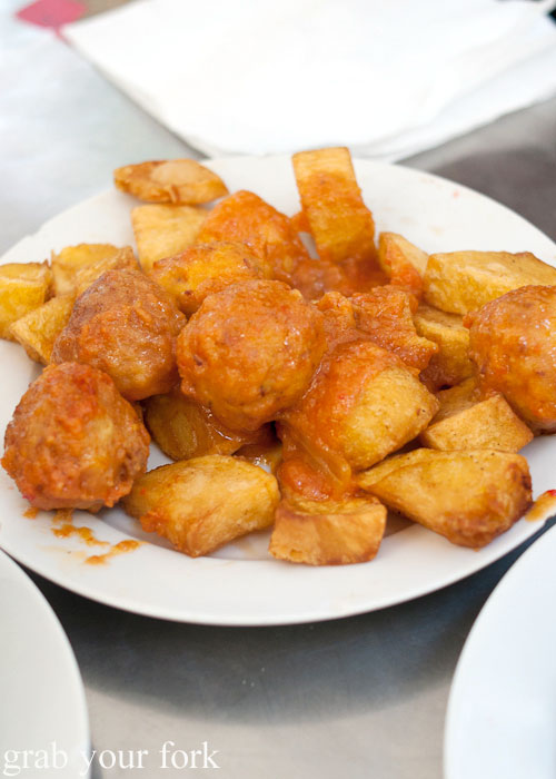 Albondigas meatballs with tomato and fried potato at Can Eusebio, Barcelona