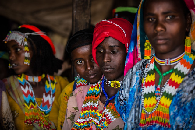 Oromo beautiful girls with colorful necklaces near asebe Teferi