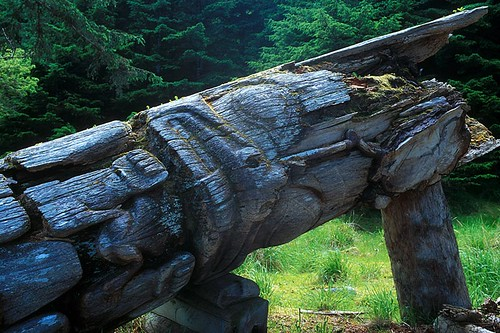 Totem Pole in ancient Nimstints, Anthony Island, Haida Gwaii (Queen Charlotte Islands), British Columbia, Canada