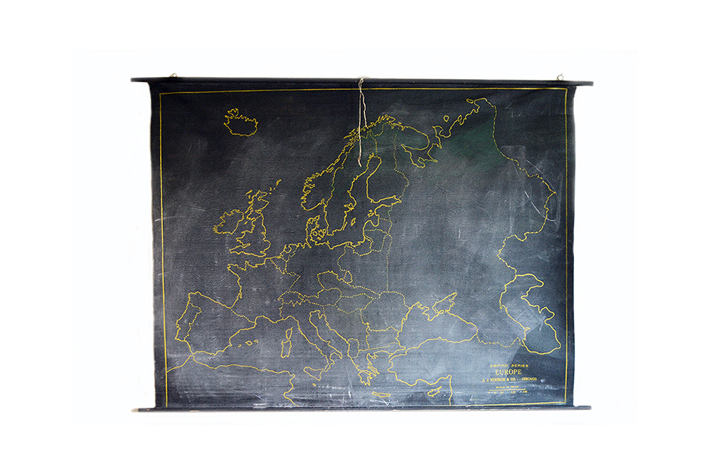 Vintage Black Chalkboard Map European Empires