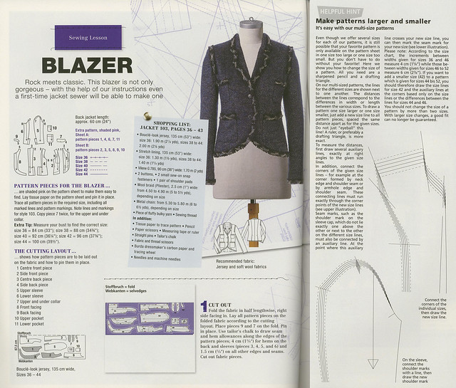Burda-April-2014 Blazer Sewing Lesson Plus Grading
