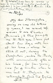 Elton to Sherrington - 14 April 1921 (S/3/4/1/3)