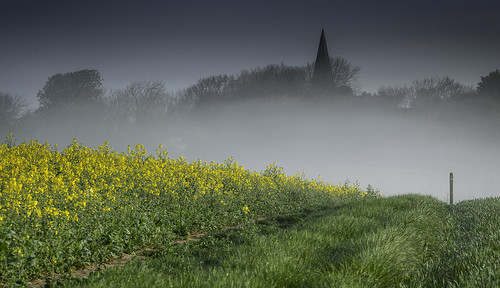 park england mist green church yellow downs sussex south rape east national berwick alfriston downland