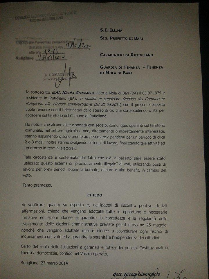 La denuncia presentata ai militari da Nicola Giampaolo