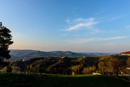 camera trees sky italy clouds lens haze italia hills valley marche ancona lemarche topography nikond600 cupramontana nikon2470mmf28 featureslandmarks poggiocupro