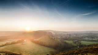 Corfe Castle at Sunrise 14-4-14