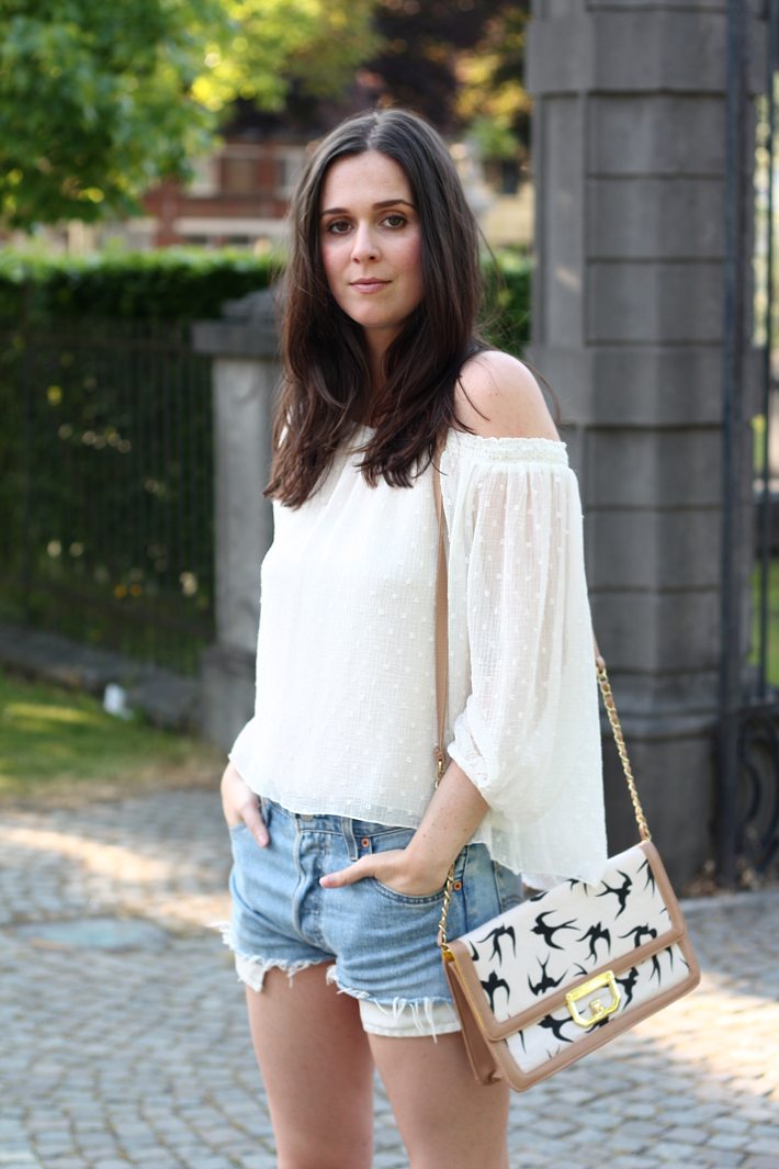 zara off the shoulder top vintage levis shorts