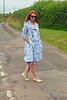 Not Dressed As Lamb | Blue floral trench, purple flare midi skirt, pointed flats by Not Dressed As Lamb