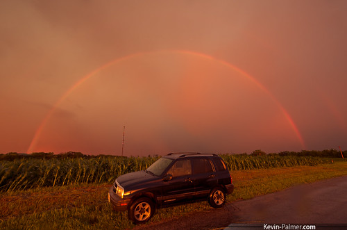 road sunset red summer orange storm color car june yellow gold golden evening illinois rainbow cornfield colorful dusk vibrant vivid stormy bow vehicle thunderstorm gladstone severe chevytracker kevinpalmer pentaxk5 samyang10mmf28